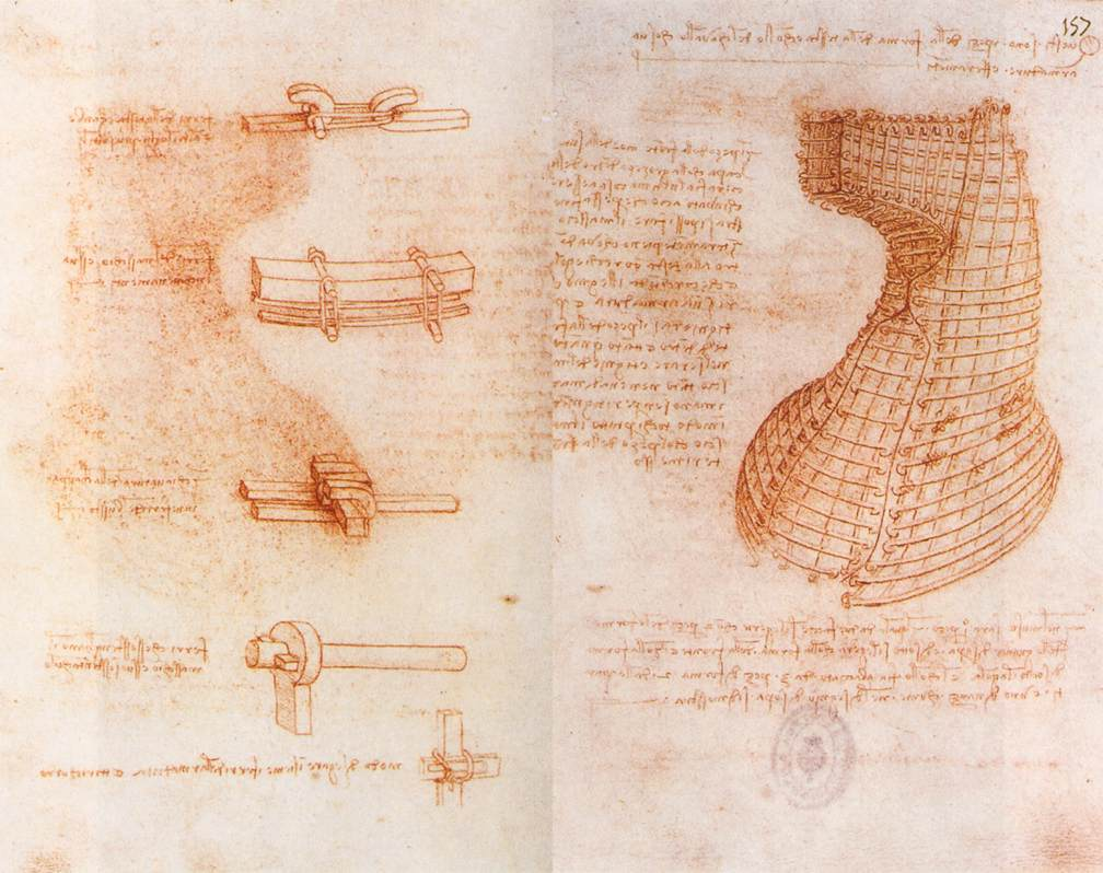 Double manuscript page on the Sforza monument from the Madrid Codices by Leonardo da Vinci, red chalk on paper circa 1493. Currently in the collections of the Biblioteca Nacional de España in Madrid, Spain.