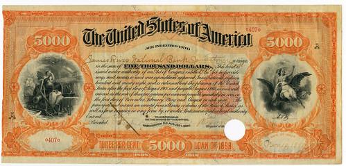 Archives Internationsl Sale 51 lot 611. Extremely Rare 1898 Spanish American War $5000 Registered Bond