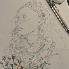 Woman on the tube a few weeks ago. Looked like a Pre-Raphaelite moving image, even moreso as she was carrying some lovely flowers. #tube #commuterthoughts