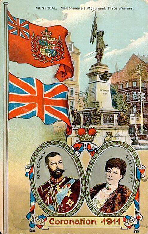 A Canadian postcard marking the coronation of King George V and Queen Mary in 1911, showing the Royal Union Flag (lower) and a version of the Red Ensign with a crowned composite shield of Canada (unapproved by the sovereign) in the fly.