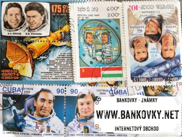 Známky kozmonauti balíček 50 ks rôznych