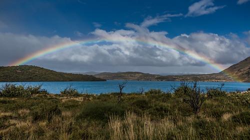 Rainbow over Lago Pehoe, Torres del Paine