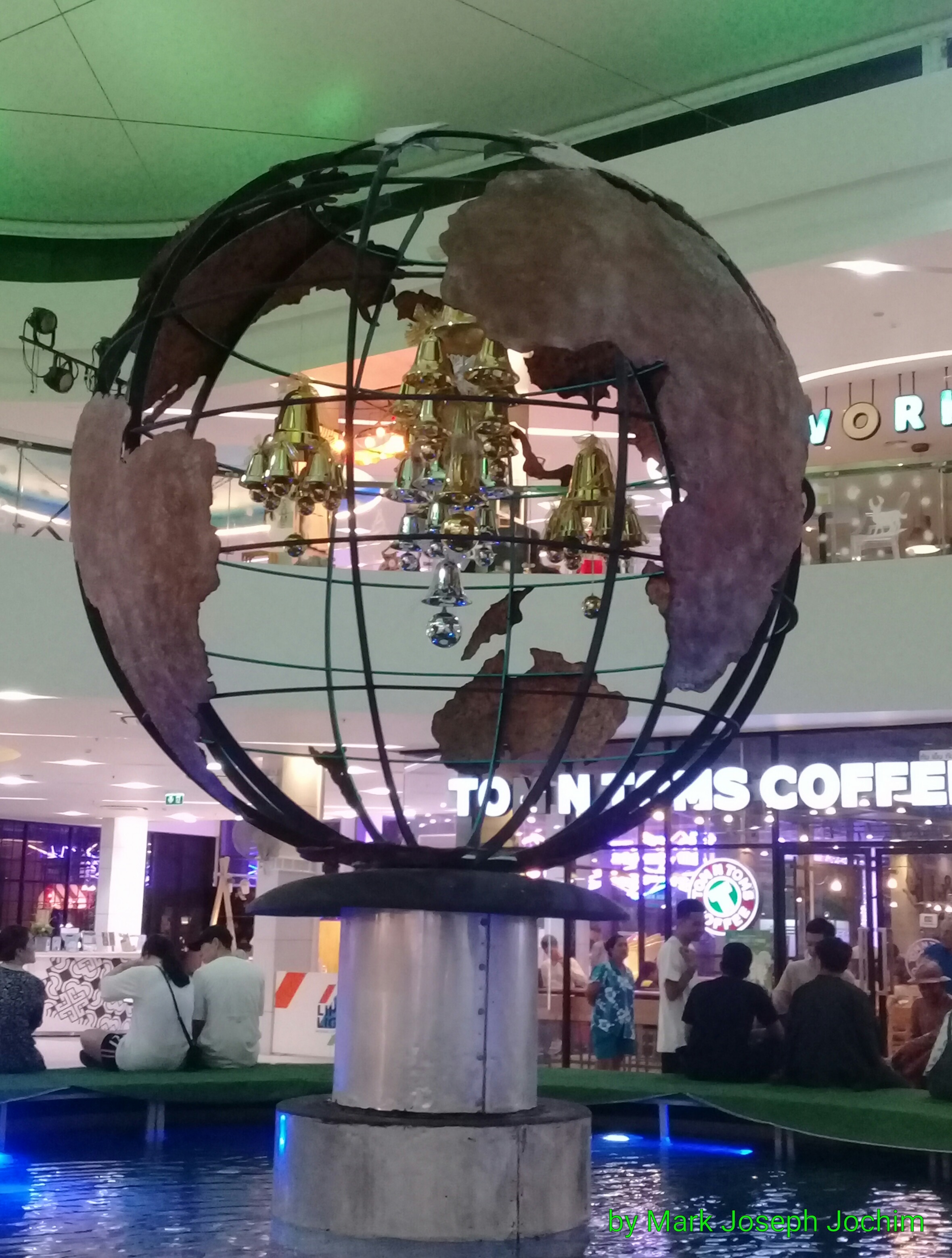 The world comes to Phuket -- globe and fountain inside of the Limelight Avenue shopping center, Phuket Town, Thailand. Photo taken on January 20, 2019.