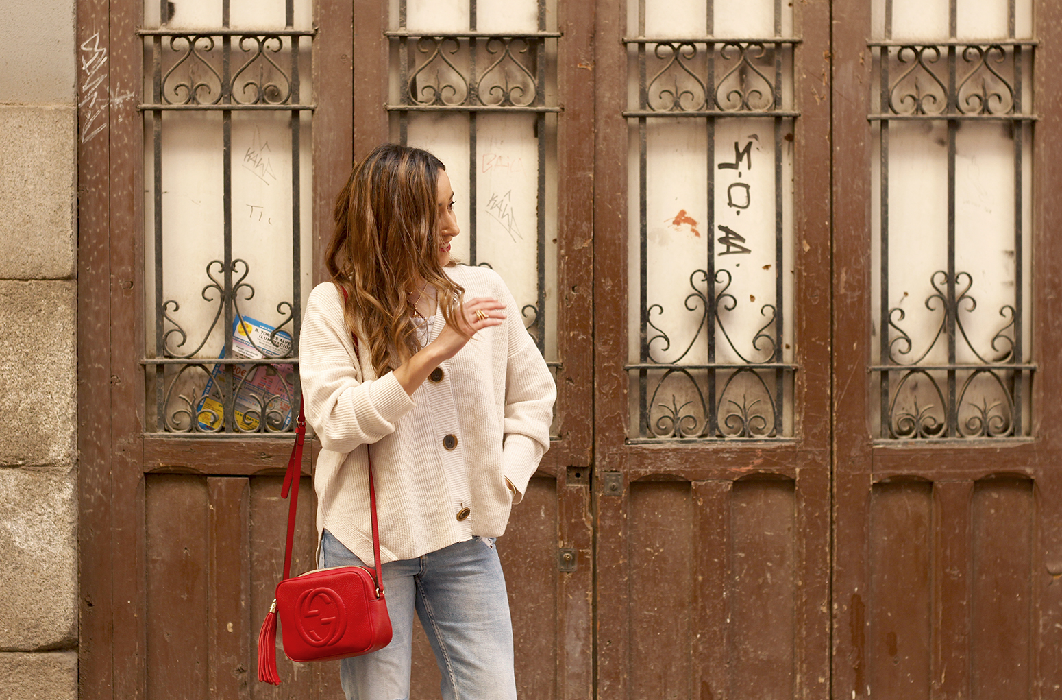 beige cardigan gucci bag red heels ripped jeans street style outfit 201913