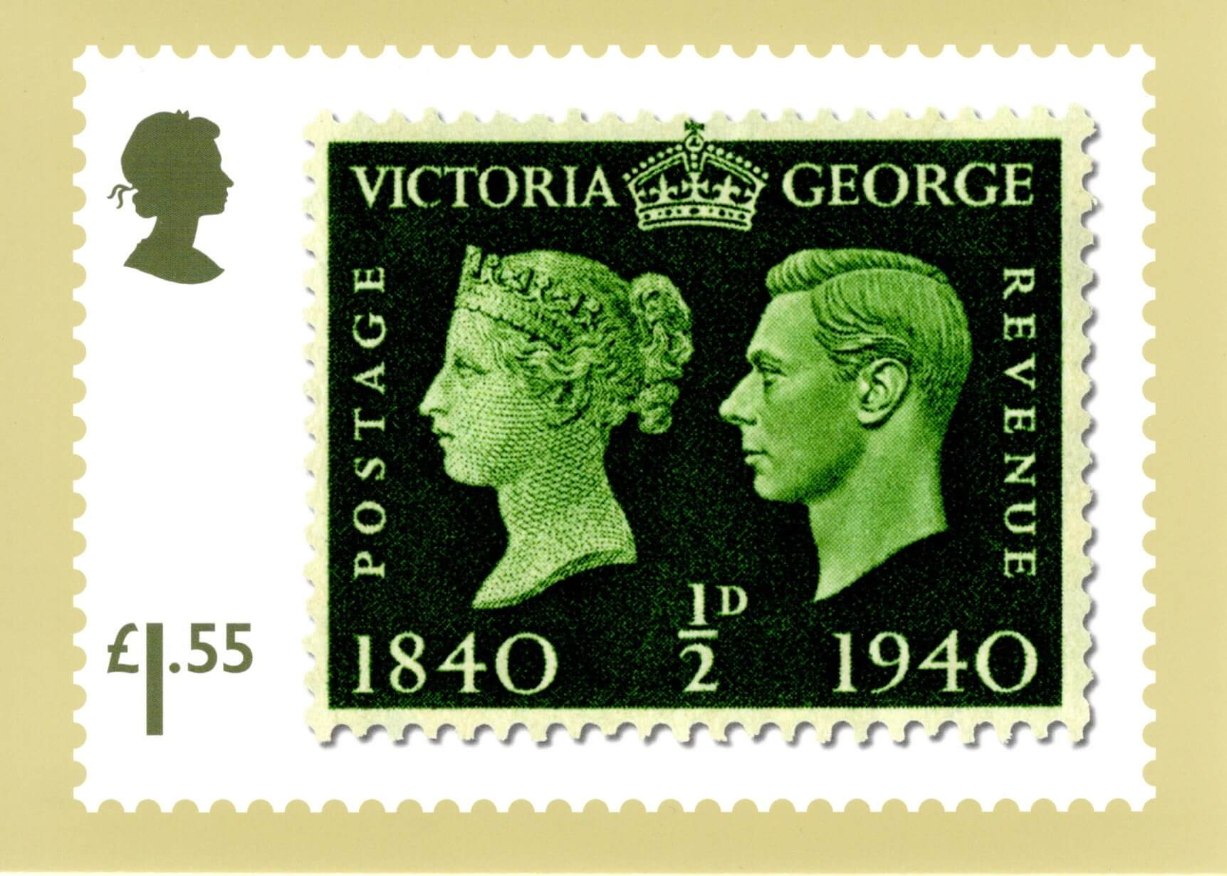 Great Britain - Stamp Classics (January 15, 2019) deep green ½d Centenary of the Postage Stamp PHQ card