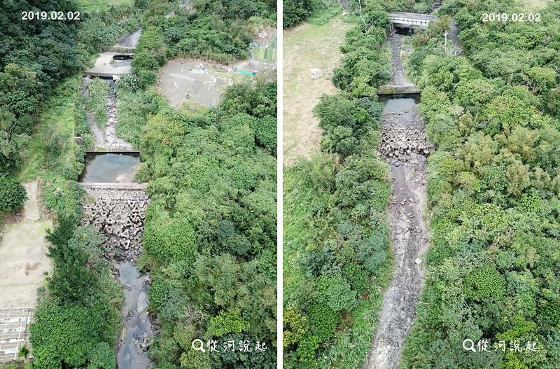 冬天明明是台灣東北部的雨季,卻有幾條溪乾一段濕一段。