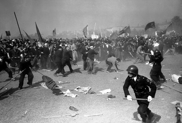 Political Demonstration Turns Violent As Police Attack Union Workers, 1950s