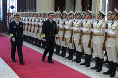 BEIJING (Jan. 14, 2019) Chief of Naval Operations (CNO) Adm. John Richardson is greeted by an honor guard at the People's Liberation Army (Navy) (PLA(N)) headquarters. Richardson is on a three-day visit to Beijing and Nanjing to continue the ongoing dialog between the two heads of navy and encourage professional interactions at sea, specifically addressing risk reduction and operational safety measures to prevent unwanted and unnecessary escalation. (U.S. Navy photo by Chief Mass Communication Specialist Elliott Fabrizio/Released).