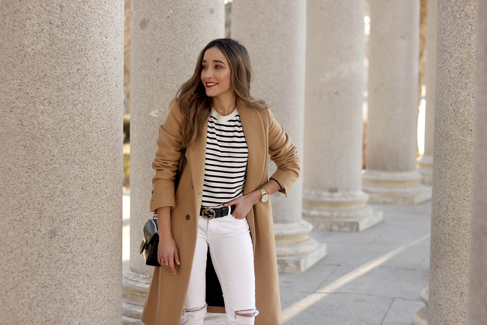 beige coat ripped jeans givenchy bag gucci belt street style outfit 201912