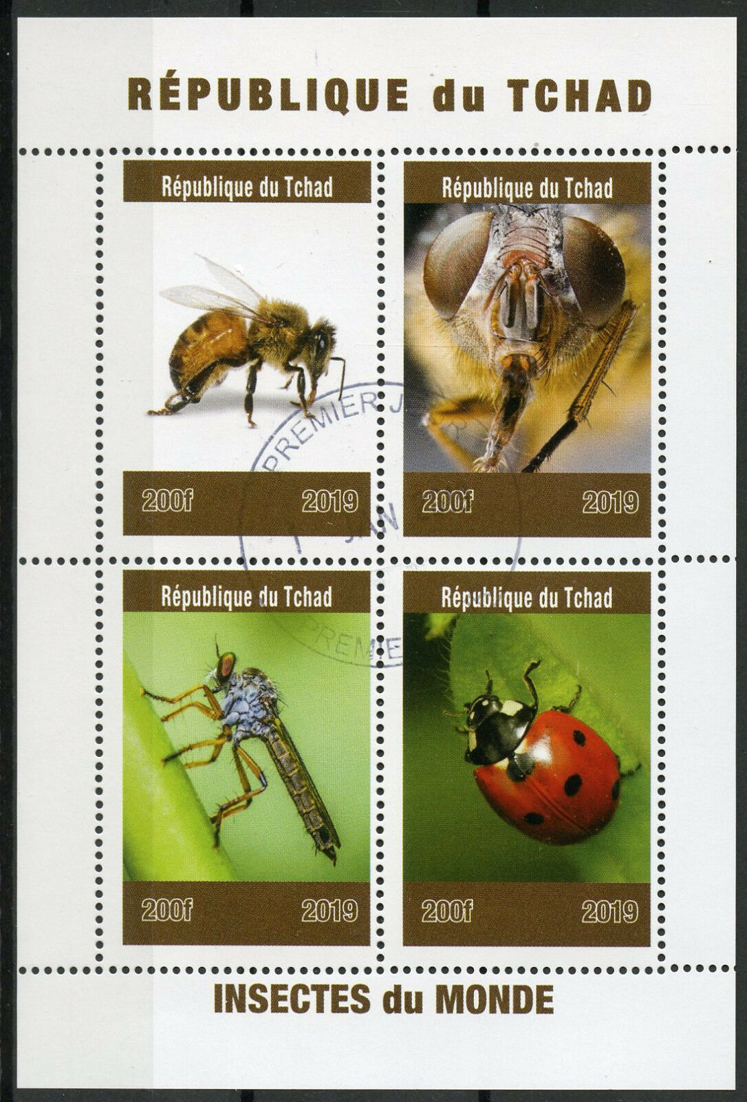 Republic of Chad - Insects of the World (January 1, 2019) sheet of 4