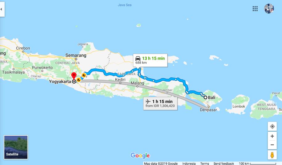 Map Bali to Yogya