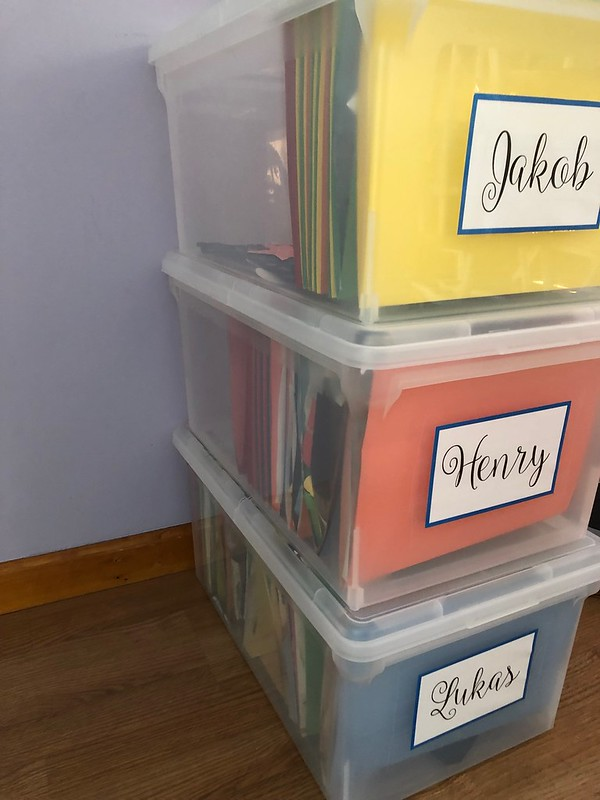 school papers organizational bins