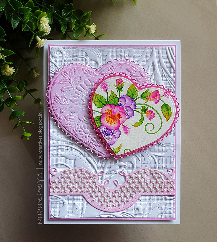 No Line coloring Pansy Hearts Card_Nupur Creatives_1