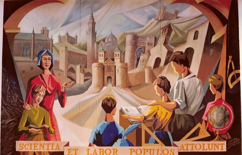 Mural en el colegio Garcilaso de la Vega, obra de Pedro Sánchez Colorado