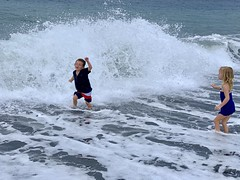 Sawyer dodges a huge wave this morning in Amed, Bali