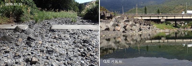 太多的土石被壩體擋在河道,不出幾年壩體就被填平了(左圖),同時導致海岸的堆積慢於海浪侵蝕的速度,只好又在岸邊投入消波塊(右圖)。