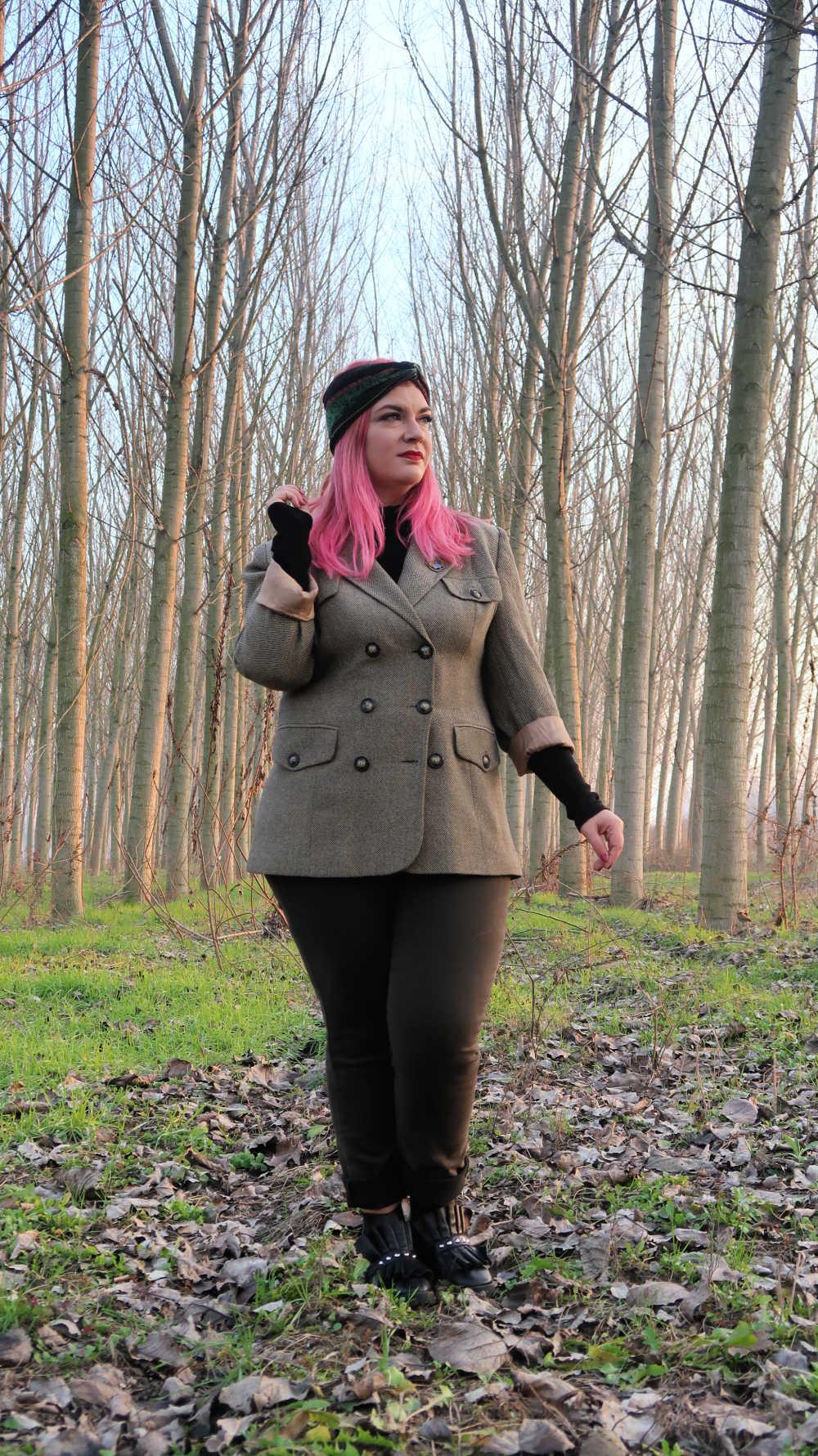 Outfit curvy e plus size, refashion giacca vintage (3)
