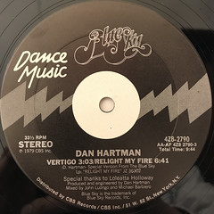 DAN HARTMAN:VERTIGO, RELIGHT MY FIRE(LABEL SIDE-A)