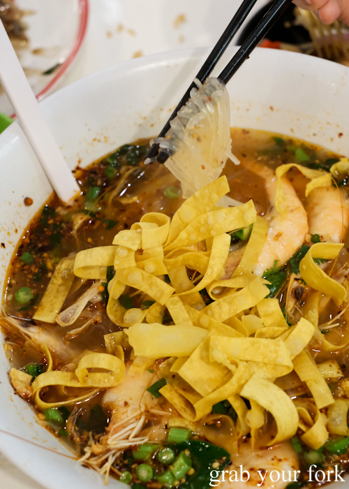 Prawn tom yum noodle soup at the all you can eat prawn and crab buffet at Mojo Restaurant Sydney