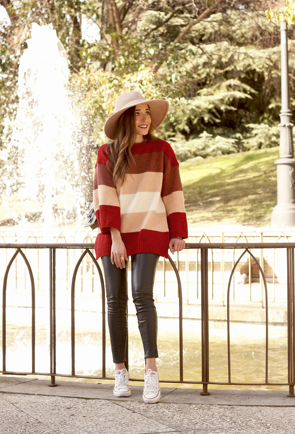 striped sweater leatherette pants converse gucci bag street style outfit 20193