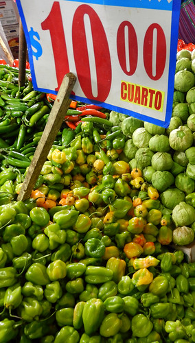 Habaneros and tomatillos for sale at the huge Merced Market in Mexico City