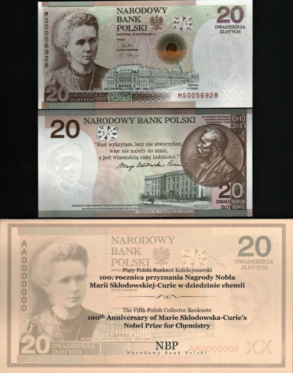 20 Zlotych Poľsko 2011, Marie Curie P182