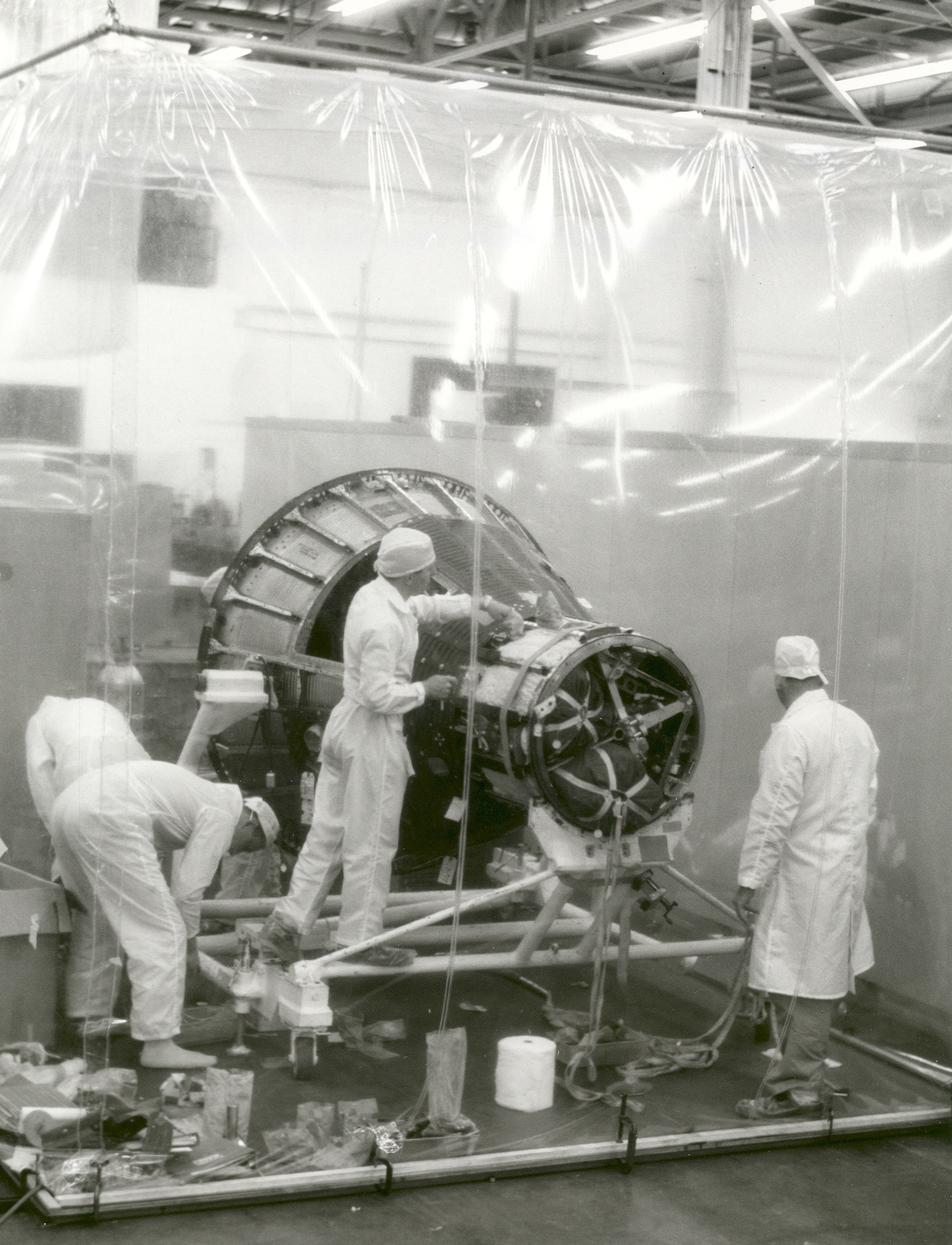 Spacecraft production in clean room at McDonnell Aircraft, St. Louis, 1960.