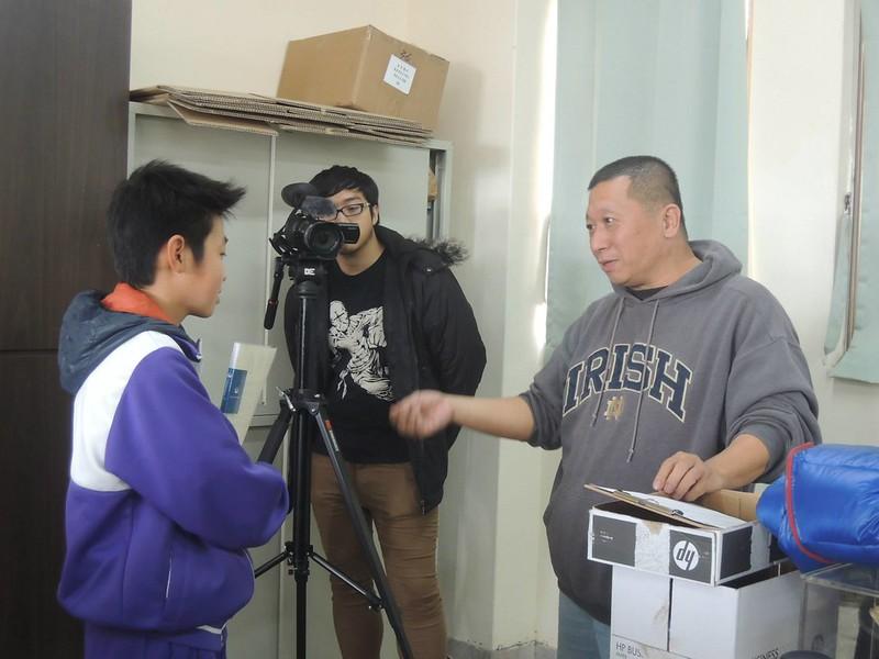 郭祥廈接受採訪的拍攝現場。張弘榤提供。