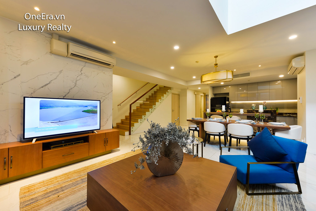 Phòng khách căn hộ C1 Duplex Waterina Suites
