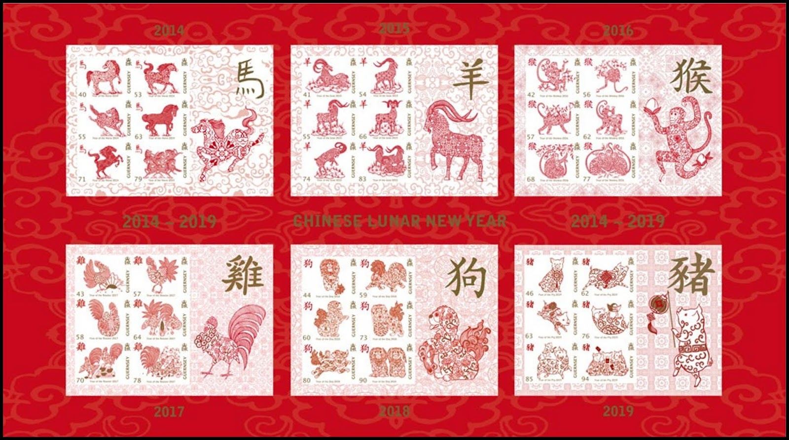Guernsey - Year of the Pig (January 22, 2019) miniature sheet of 6 (2014-2019)