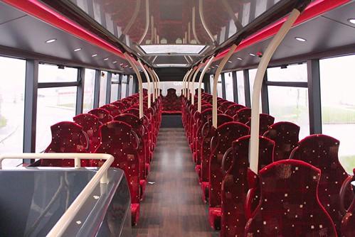 SJ19 OWP 'Lothian Buses' No. 1077 'Lothiancity'. Volvo B8RLE / Alexander Dennis Ltd. Enviro400XLB Upper deck interior   on Dennis Basford's railsroadsrunways.blogspot.co.uk'