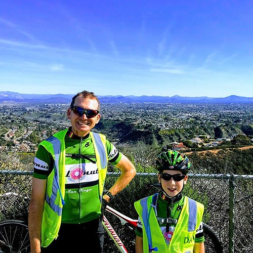 Atop Mount Soledad with Number Two. Ride across California training ride. It was so clear on Saturday thanks to the Santa Ana winds.