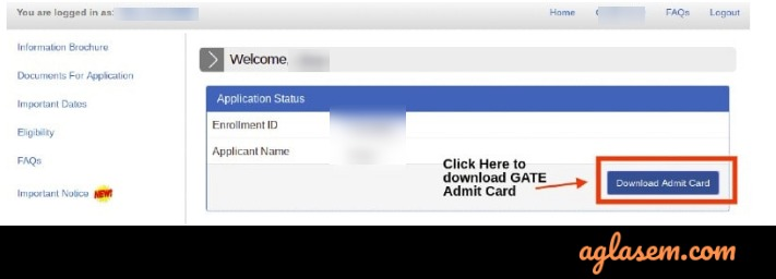 GATE 2020 download admit card