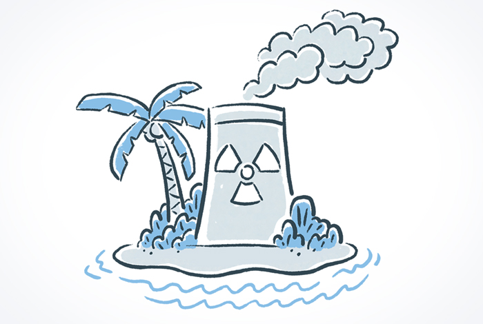 A rough illustration of a nuclear plant cooling tower next to a palm tree on a tiny island.