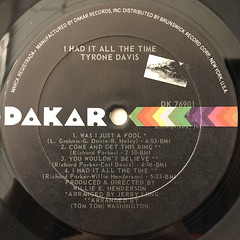 TYRONE DAVIS:I HAD IT ALL THE TIME(LABEL SIDE-B)