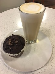 Coffee Latte and a Chocolate Chip Muffin