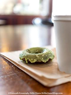 Flying Apron - Macha-Glazed Chocolate Doughnut