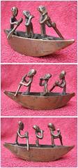 ASHANTI brass sculpture (West African art) - duck hunting scene