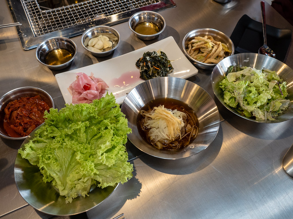 Apple Samgyupsal's Unlimited banchan (side dishes) and vegetables
