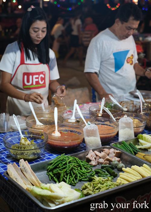 Self serve vegetables for nam prik dipping sauces at Build Market in Khao Lak,Thailand