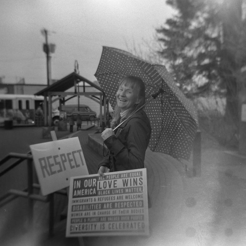 Cathy with umbrella