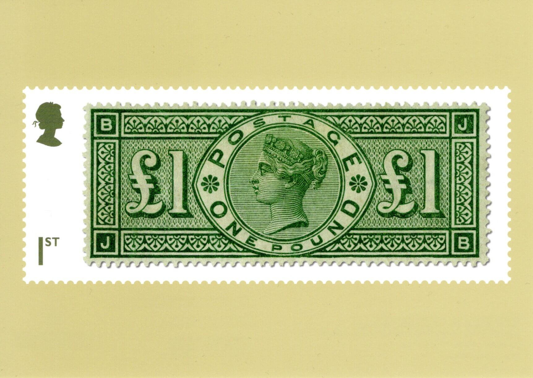 Great Britain - Stamp Classics (January 15, 2019) green £1 Queen Victoria of 1891 PHQ card