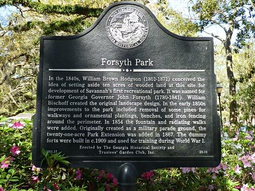 forsyth park plaque