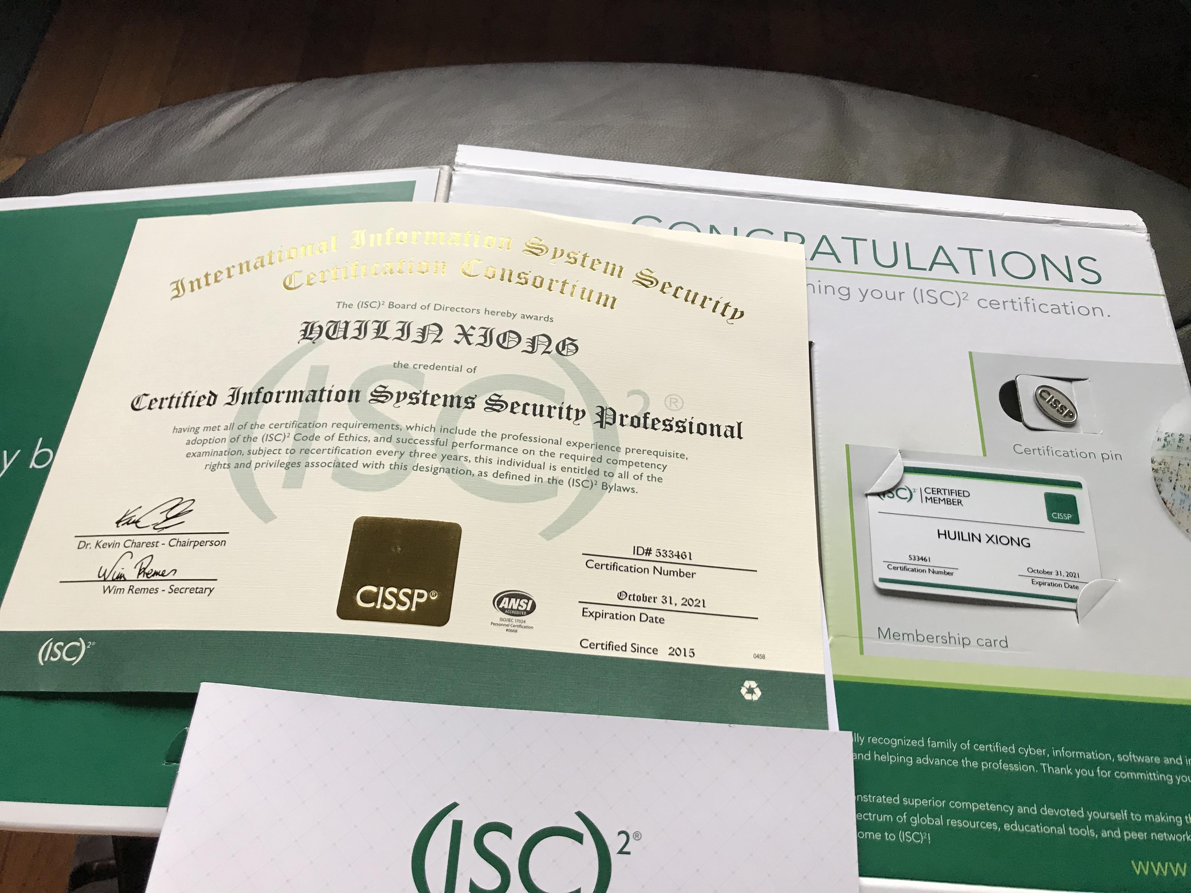 Certificate CISSP