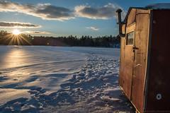 ice shack sunset