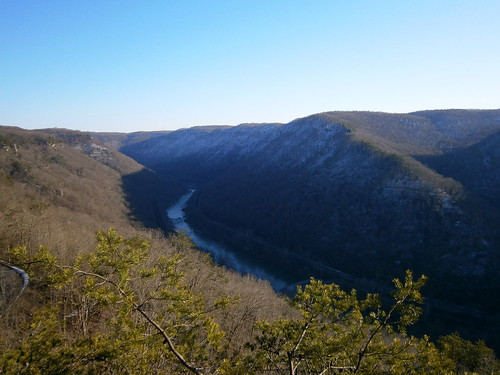 new river gorge overlook bridge highway west virginia valley scenery nature trees scenic trail park view sunset shadow