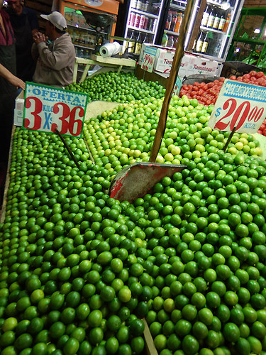 Limes for sale at the huge Merced Market in Mexico City