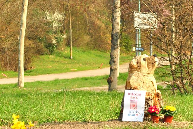 """März 2019 --- Holzskulptur """"Bär"""" auf dem Kreisel an der Umgehungsstraße in Mannheim-Seckenheim ... Willkommen zurück daheim, kleiner Bär ... Foto: Brigitte Stolle"""