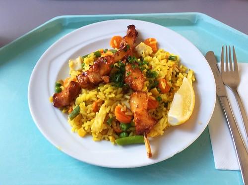 Spanish paella with coalfish dices & chicken / Spanische Paella mit Seelachswürfeln & Hähnchen