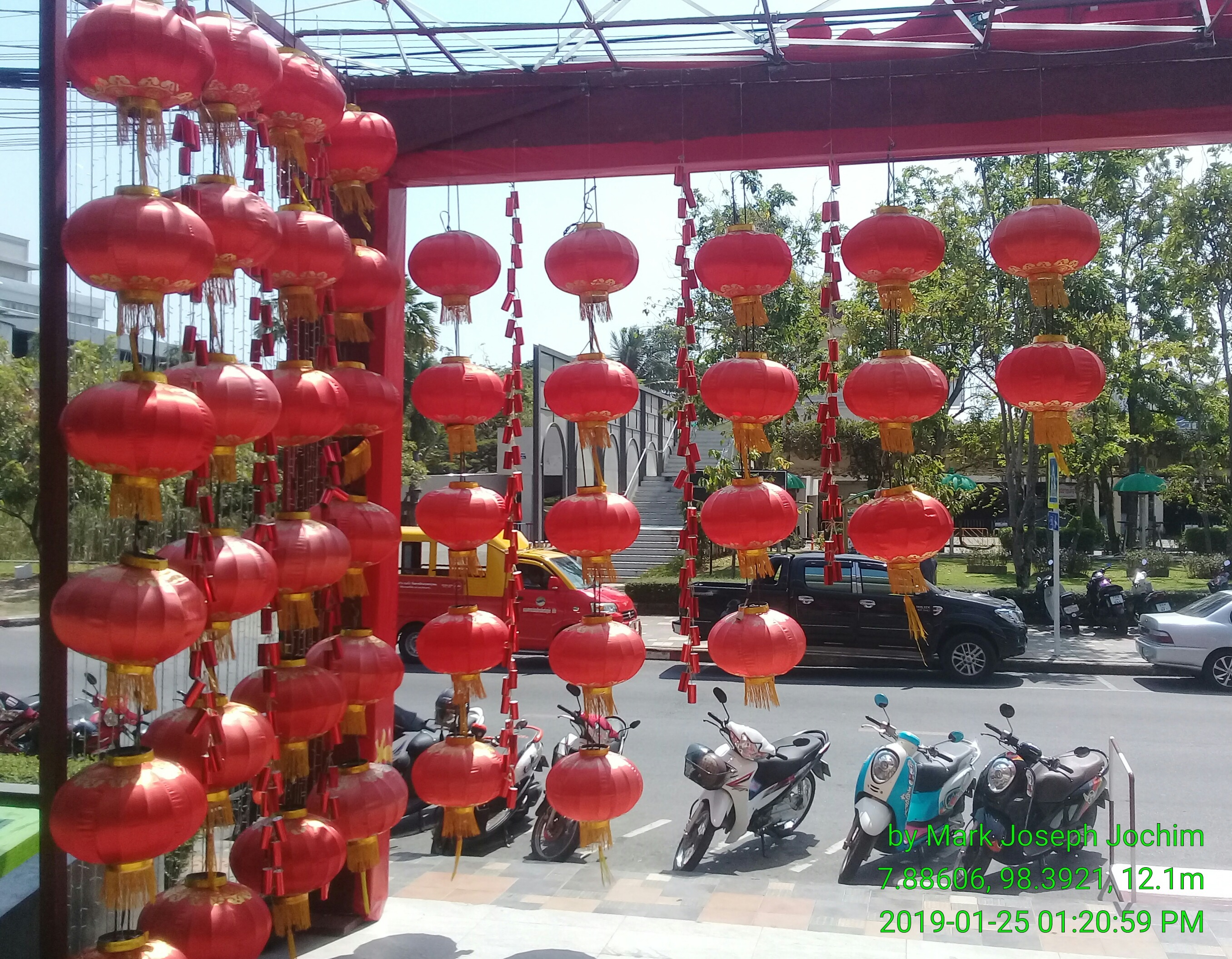 Chinese New Year decorations at Limelight Avenue in Phuket, Thaland. January 25, 2019